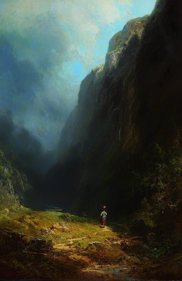 Painting Painting - In The Alpine High Valley by Mountain Dreams
