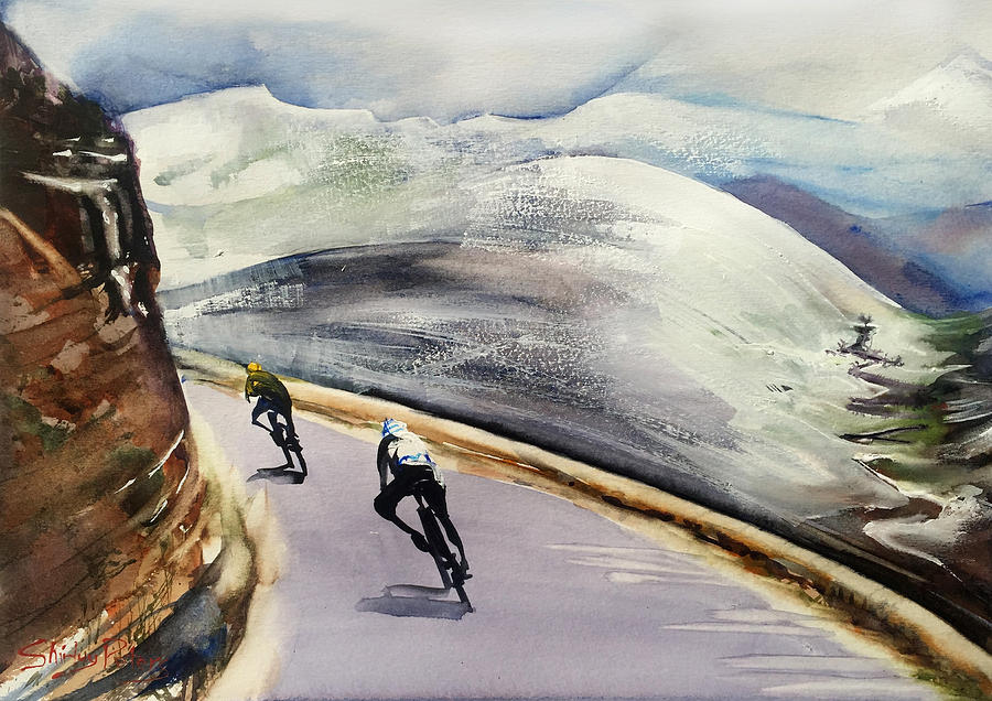 Cycling Painting - In The Alps by Shirley Peters