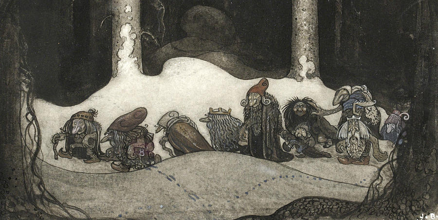 Swedish Painters Painting - In The Christmas Night  by John Bauer