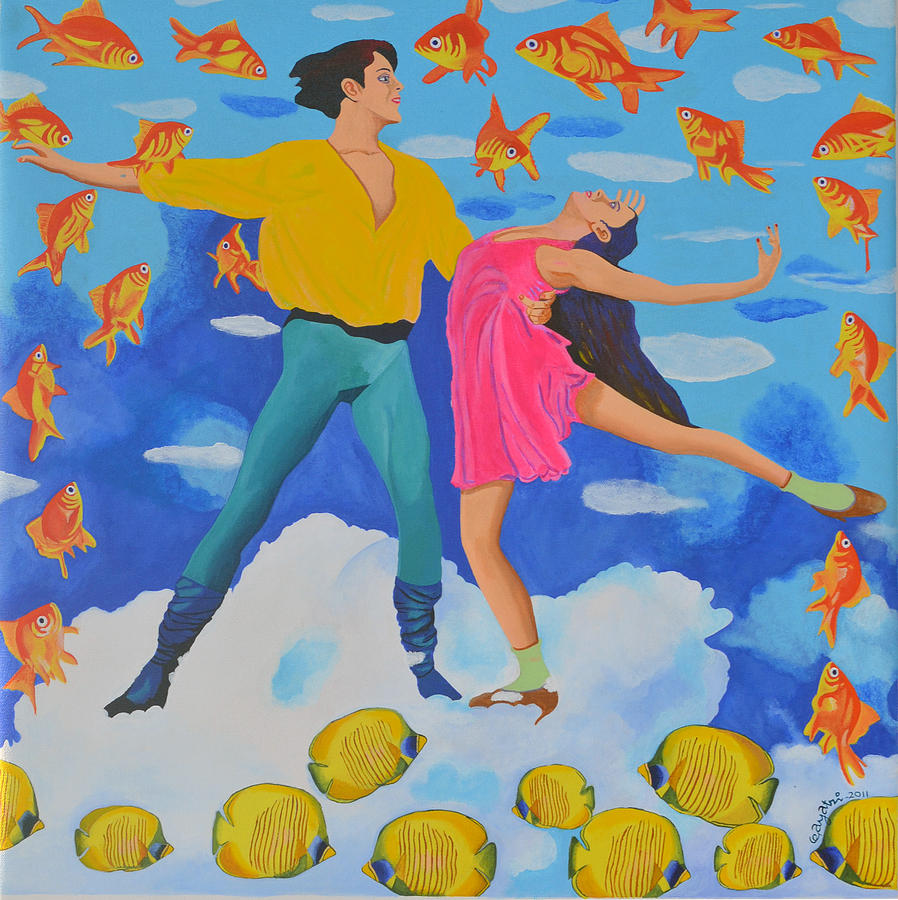 Dancers Painting - In The Clouds. by Gayatri Artist