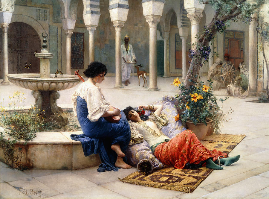 Courtyard Painting - In The Courtyard Of The Harem by Max Ferdinand Bredt