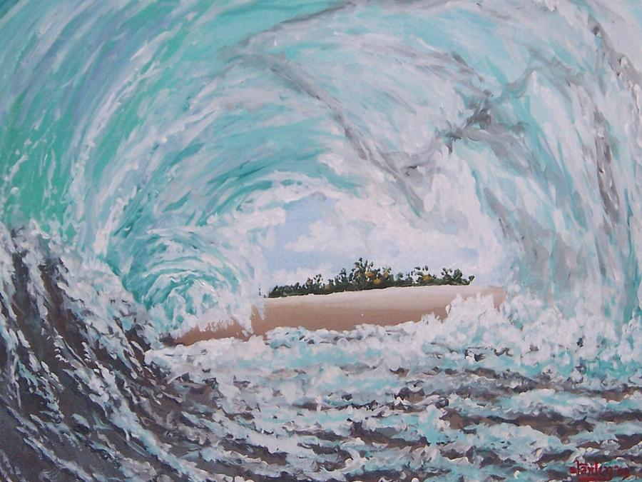 Seascape Painting - In The Curl by David Stanley