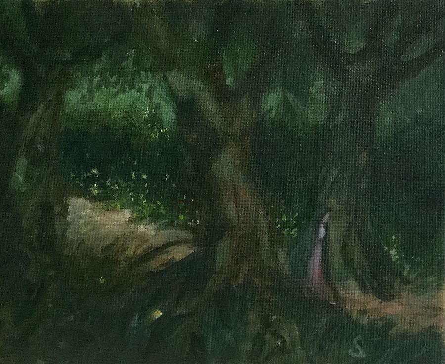 In The Dark, Dark Woods Painting by Robert Sankner