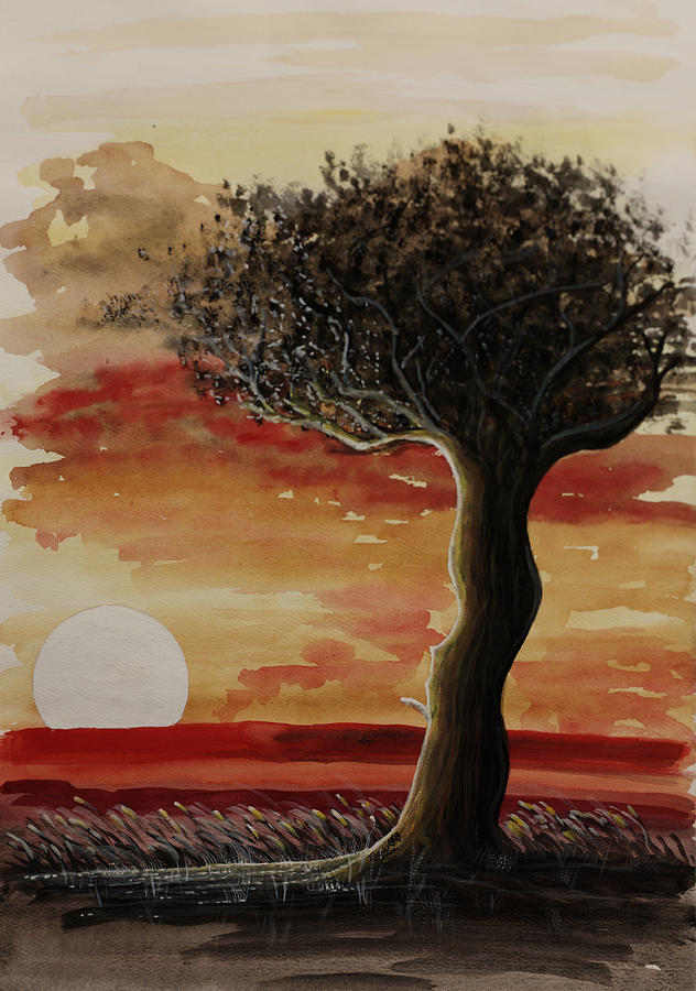African Tree With Sunset Painting - In The Desert by Robin Sylvester
