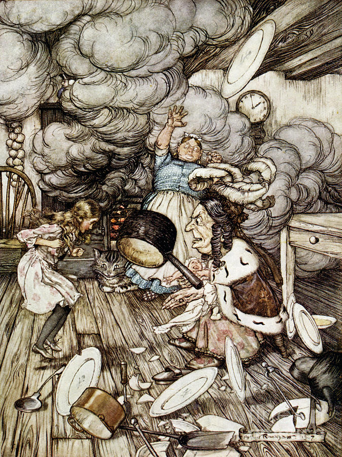 Arthur Rackham Drawing - In The Duchesss Kitchen by Arthur Rackham
