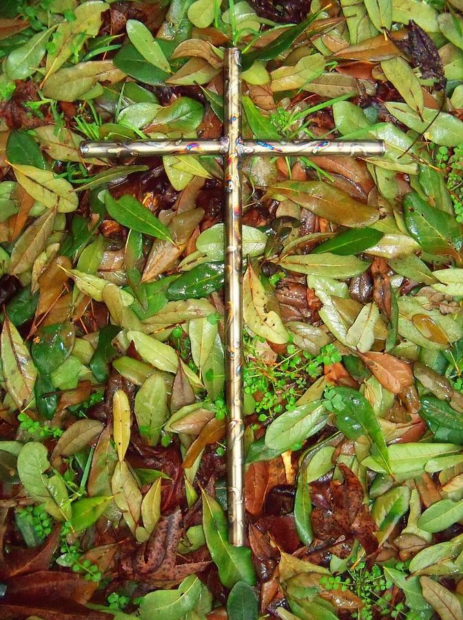 Cross Sculpture - In The Fall by Deborah Montana