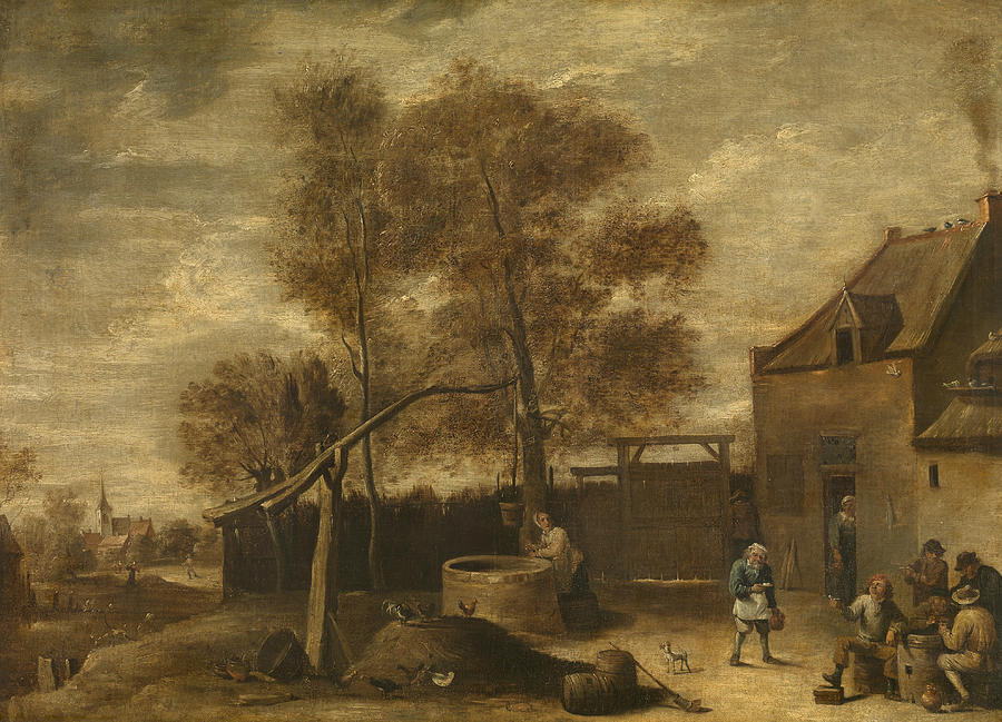 Flemish Painters Painting - In The Farmyard  by David Teniers the Younger