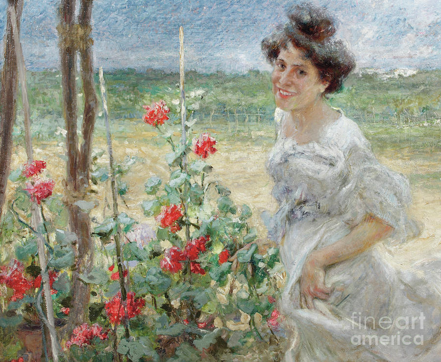 Flower Painting - In The Flower Garden, 1899 by Umberto Veruda