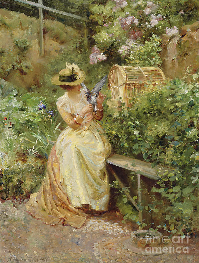 In The Garden Painting - In The Garden, 1892 by Robert Payton Reid