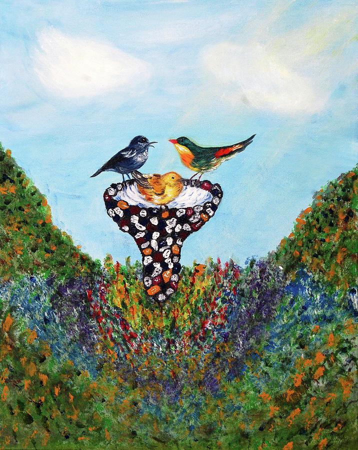 Birds Painting - In The Garden by Ann Ingham