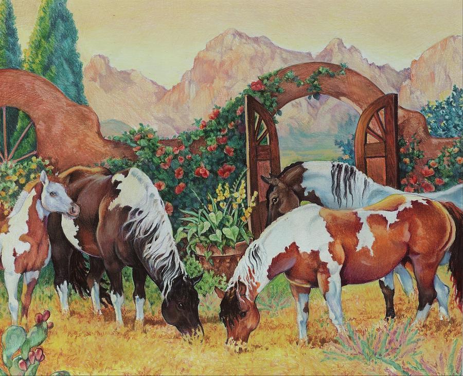 Pintos Painting - In The Garden by Eden Alvernaz