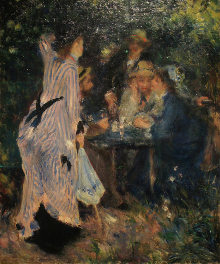Impressionist Painting - In the garden. Under the Trees the Moulin de la Galette by Pierre Auguste Renoir