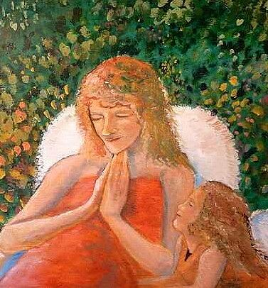 Angels Painting - In the Garden we Pray by J Bauer
