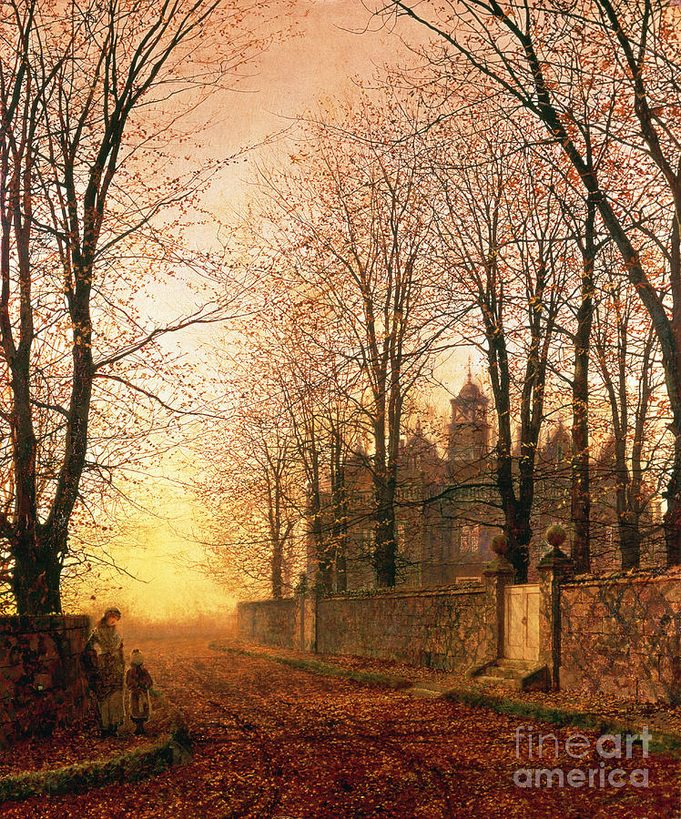 Gold Painting - In The Golden Olden Time by John Atkinson Grimshaw