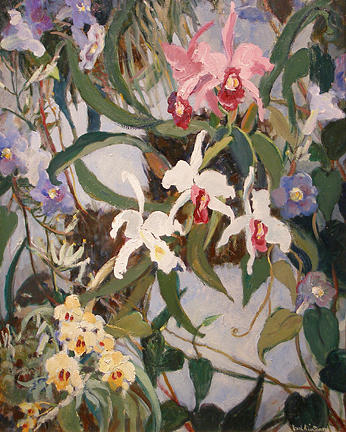 Orchids Painting - In The Green House by Pearl Van Sciver