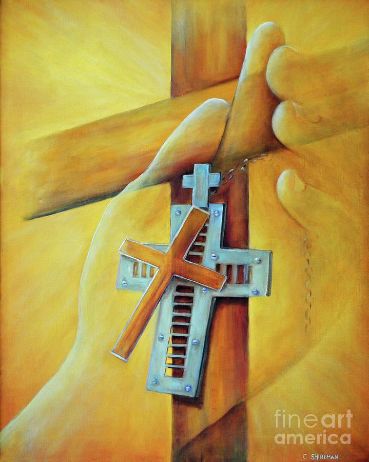Cross Painting - In The Hands by Carolyn Shireman