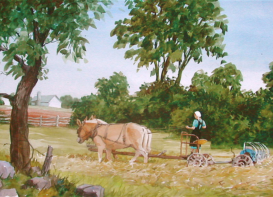 Amish Painting - In The Hayfield by Faye Ziegler