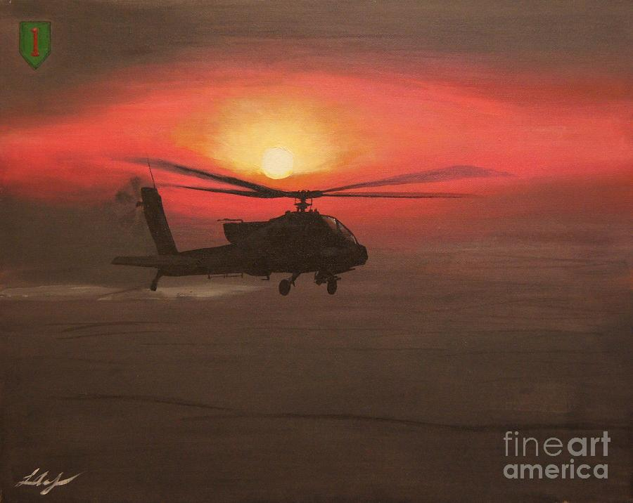 Military Painting - In The Heat Of Night Over Baghdad by Leo Amoling