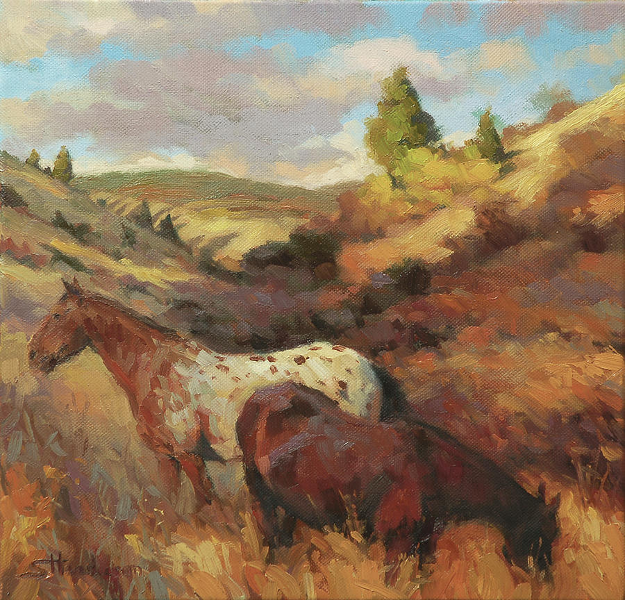 Horse Painting - In the Hollow by Steve Henderson
