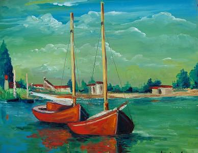 Oil Painting - In The Marina by Stan  Sternbach