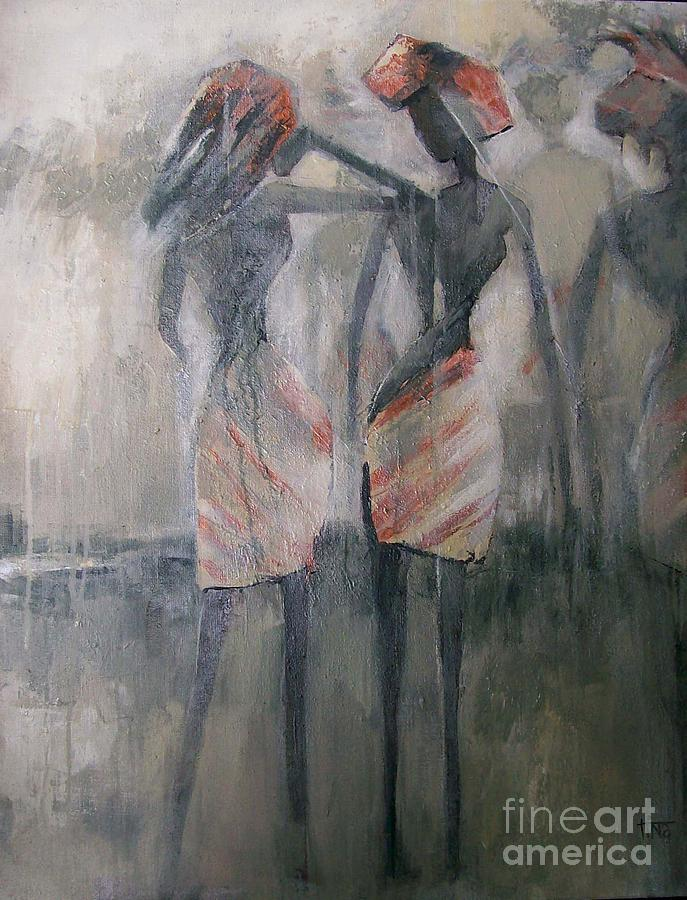 Figurative Painting - In the Mist of Africa Stick Figures series by Tina Siddiqui