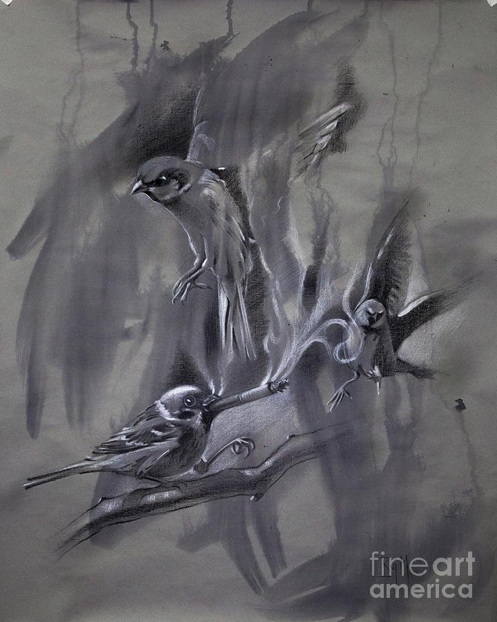 Bird Painting - In the Mist of Modernization 2 by Raj Maji