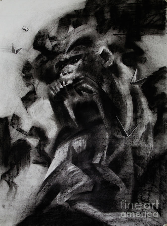Monkey Painting - In the Mist of Modernization 4 by Raj Maji