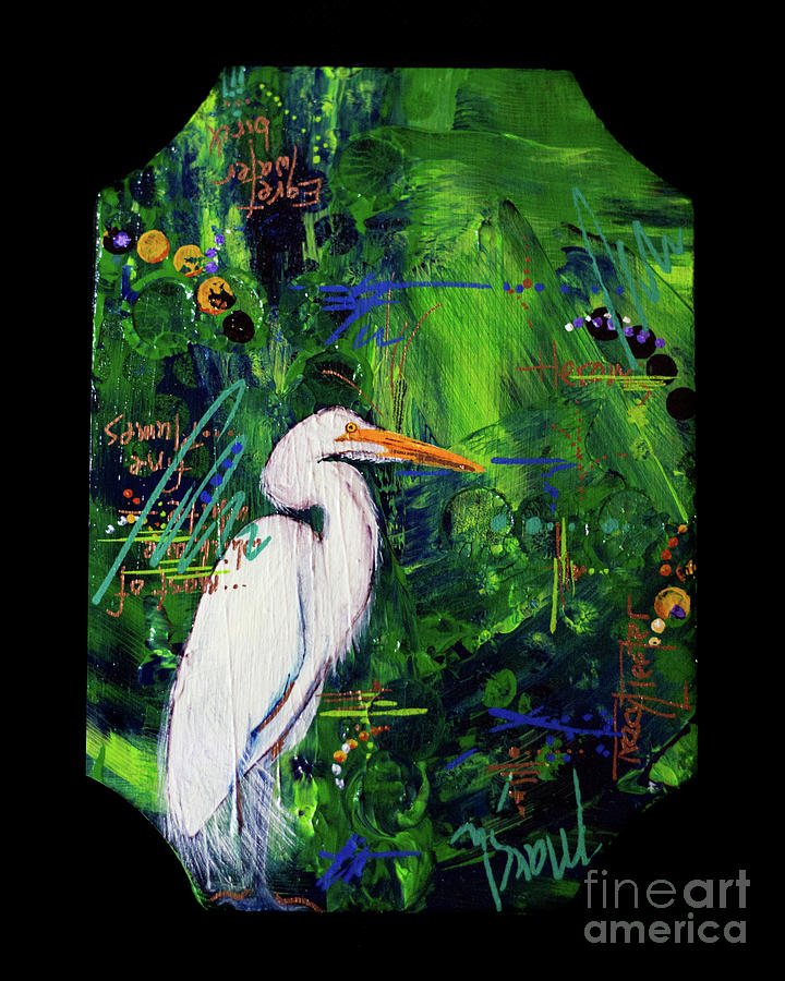 Egret Painting - In the Modern World by Tracy L Teeter