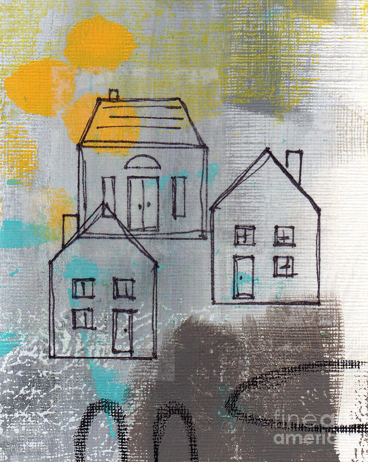 Abstract Painting - In The Neighborhood by Linda Woods