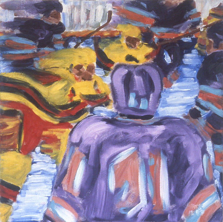 Hockey Painting - In The Play by Ken Yackel