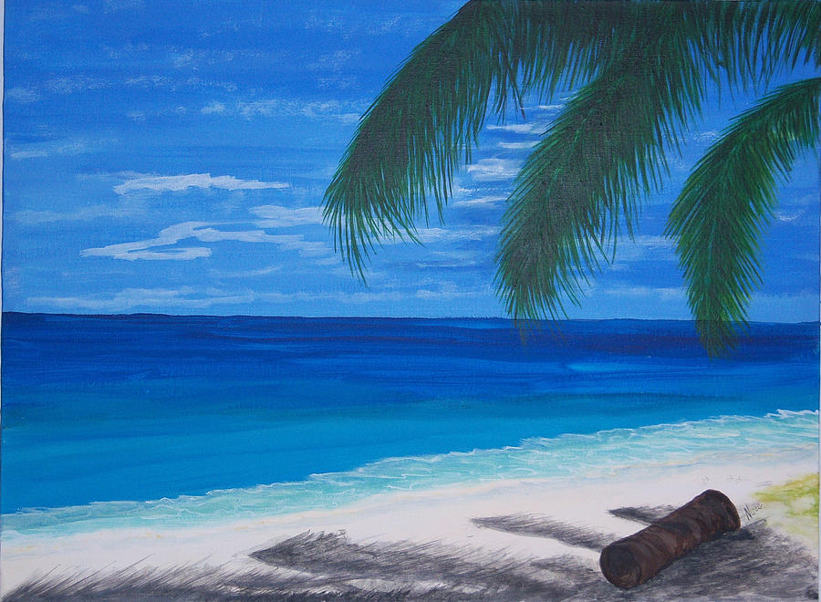 Palm Painting - In The Shade Of A Palm by Nancy Nuce