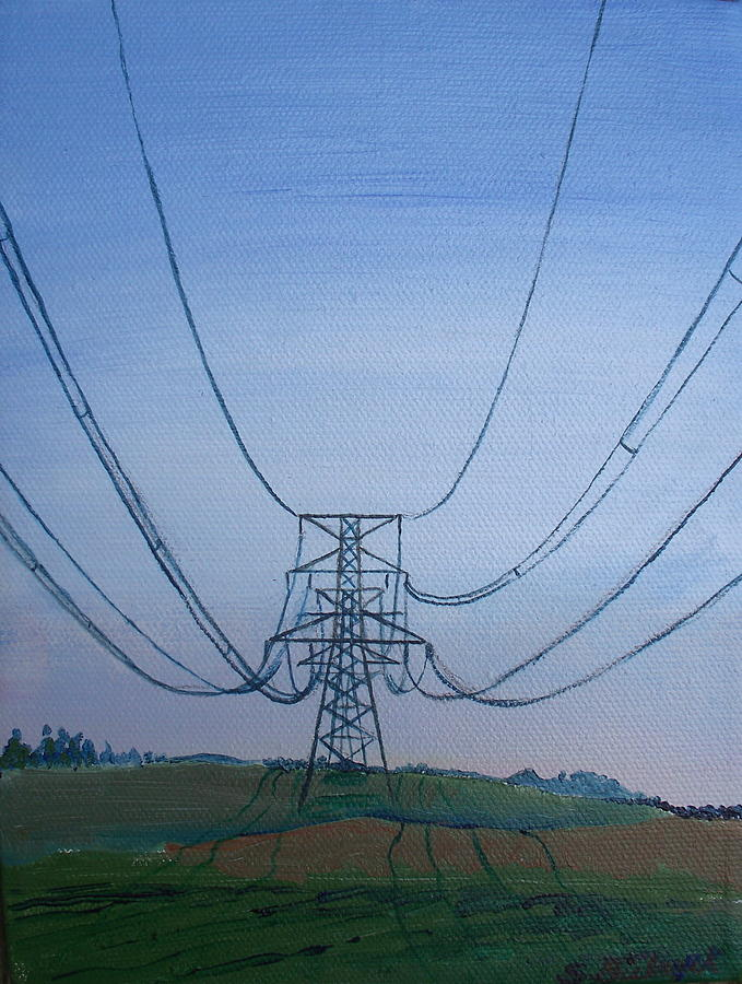 Landscape Painting - In the shadow of power by Susan Biebuyck