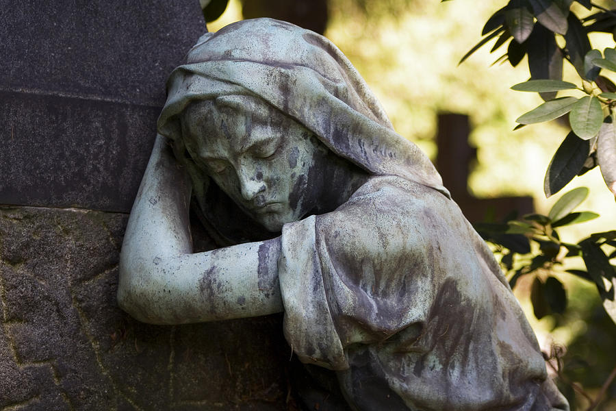 Cemetery Photograph - In The Shadows by Marc Huebner