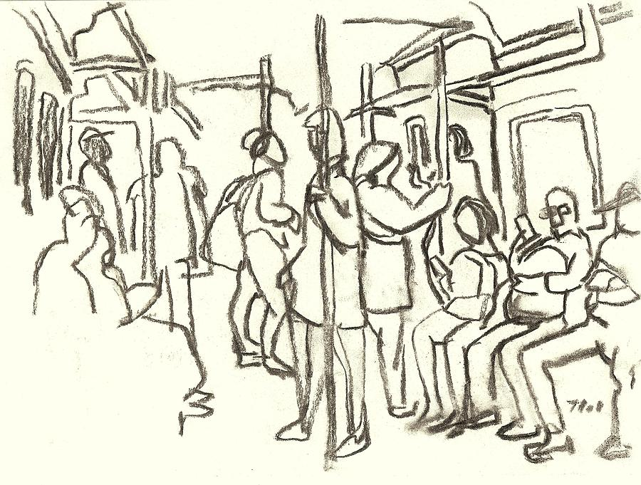 Subway Drawing - In The Subway, NYC by Thor Wickstrom