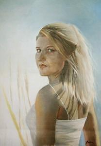Woman Painting - in The Sun Portrait Of Blonde Woman In The Sun by Misty Fain