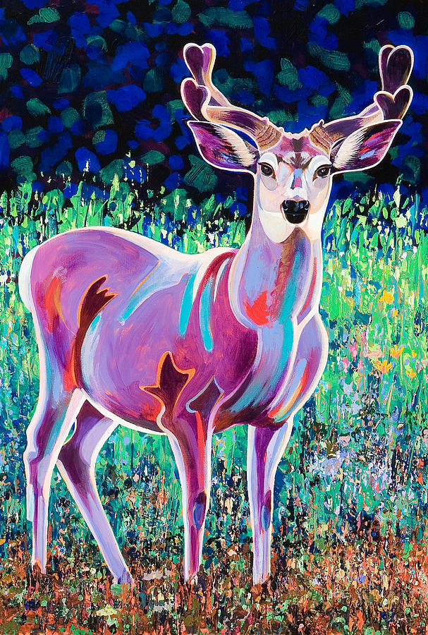 Deer Painting - In The Velvet by Bob Coonts
