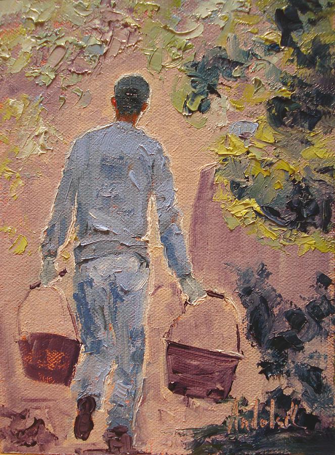 Landscape Painting - In The Vineyard by Barbara Andolsek