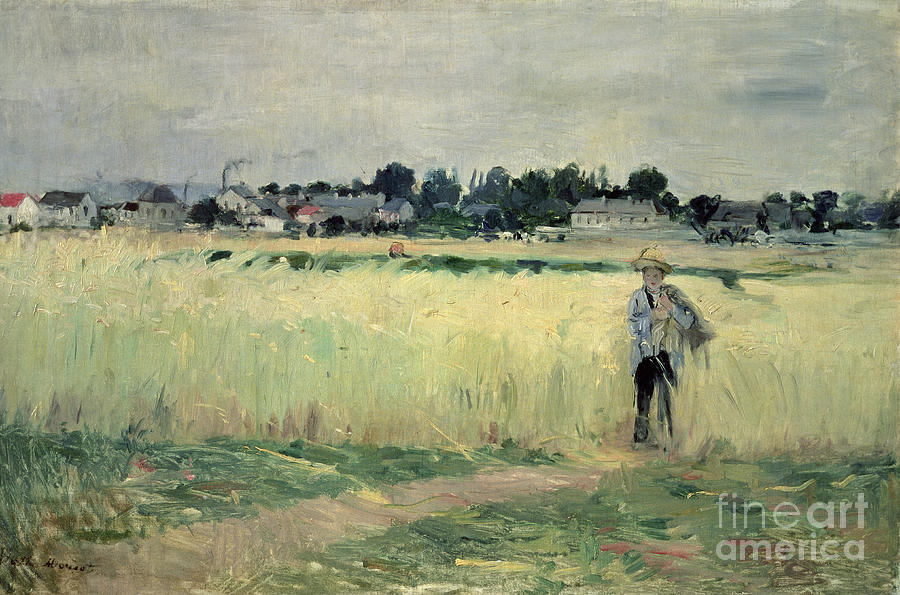 The Painting - In the Wheatfield at Gennevilliers by Berthe Morisot