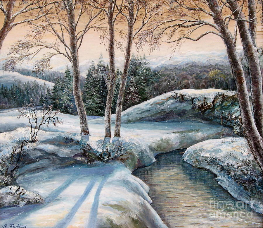 Nature Painting - In The Winter In Carpathians.  by Maya Bukhina