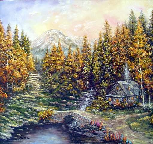 House In The Woods Painting - In THe Woods  by Najlaa Mahmoud