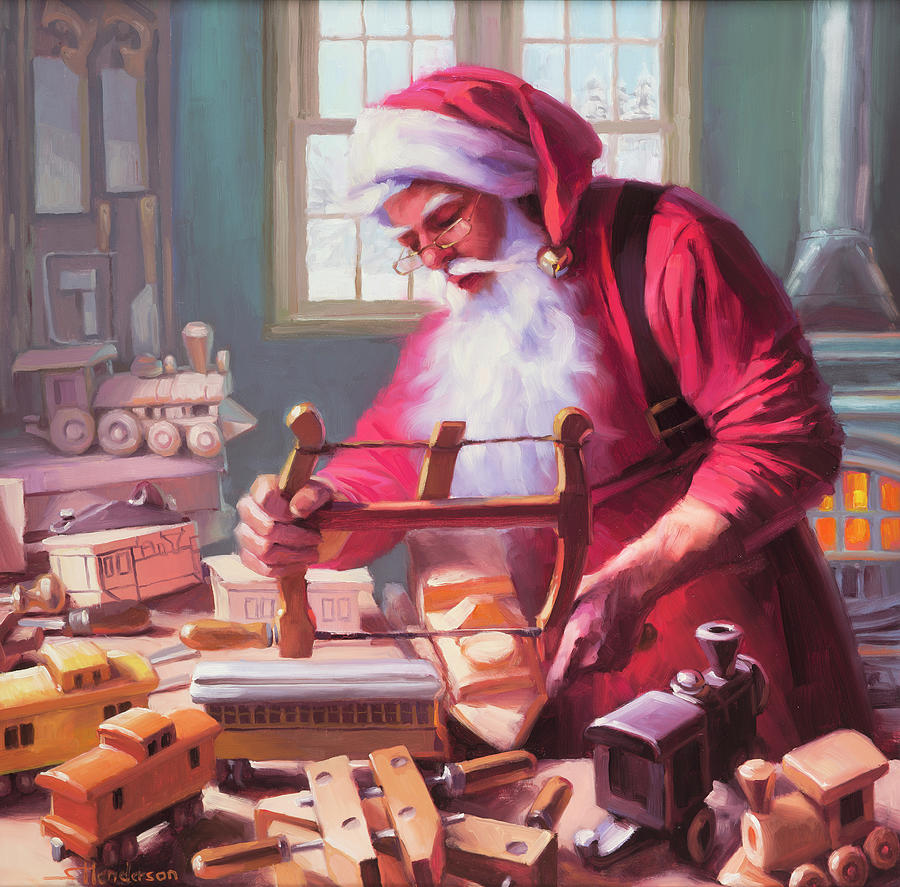 Santa Painting - In The Workshop by Steve Henderson
