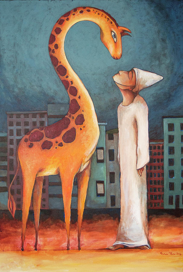 Giraffe Painting - In This Moment by Erin Thomas
