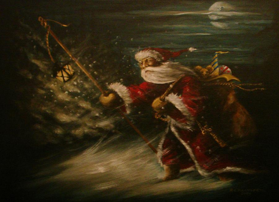 Santa Painting - In To The Storm by Richard Klingbeil