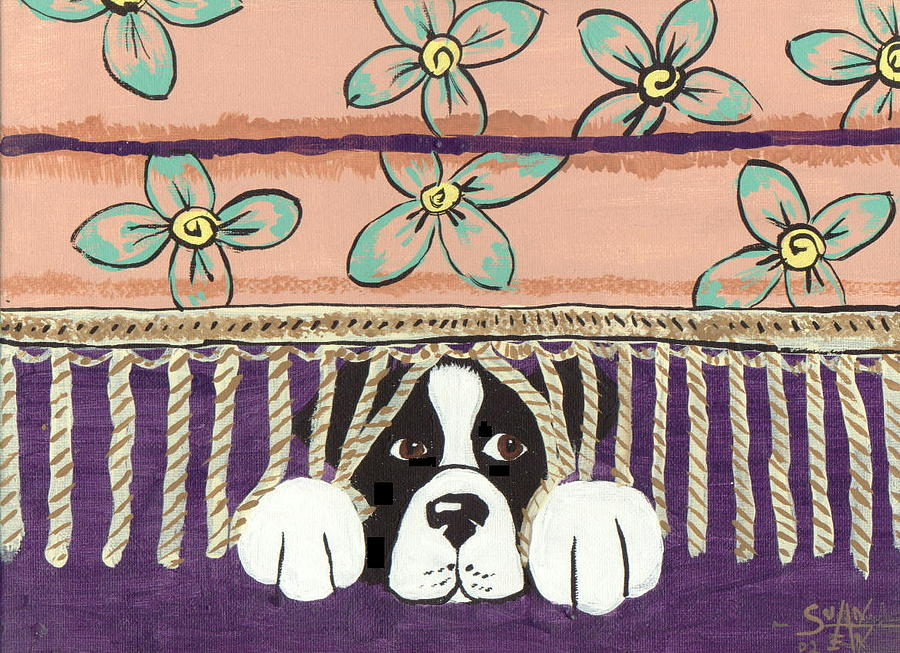 Border Collie Painting - In Trouble by Sue Ann Thornton