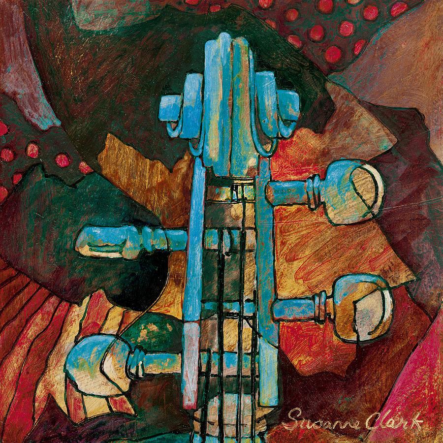 Suzanne Clark Painting - In Tune - String Instrument Scroll In Blue by Susanne Clark