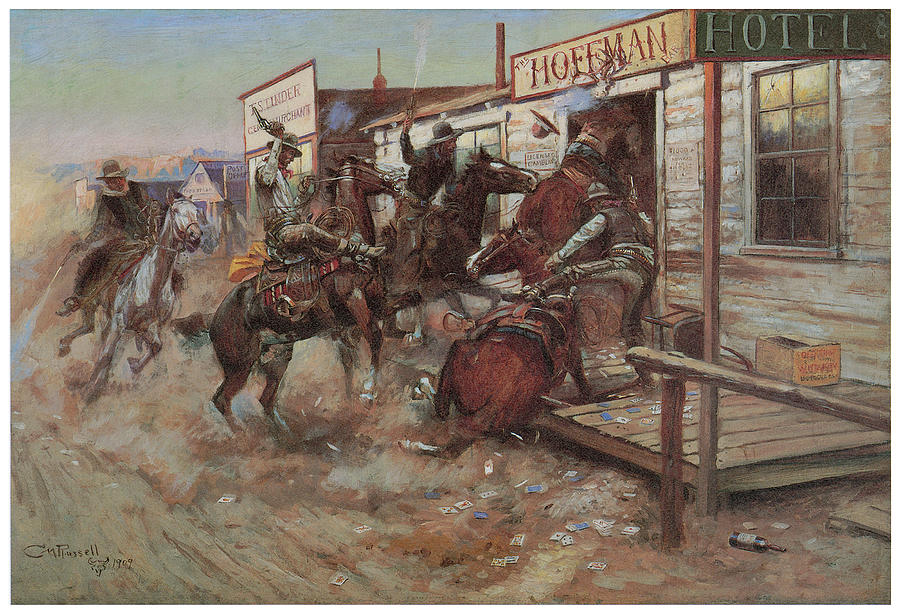Charles M Russell Painting - In Without Knocking by Charles M Russell