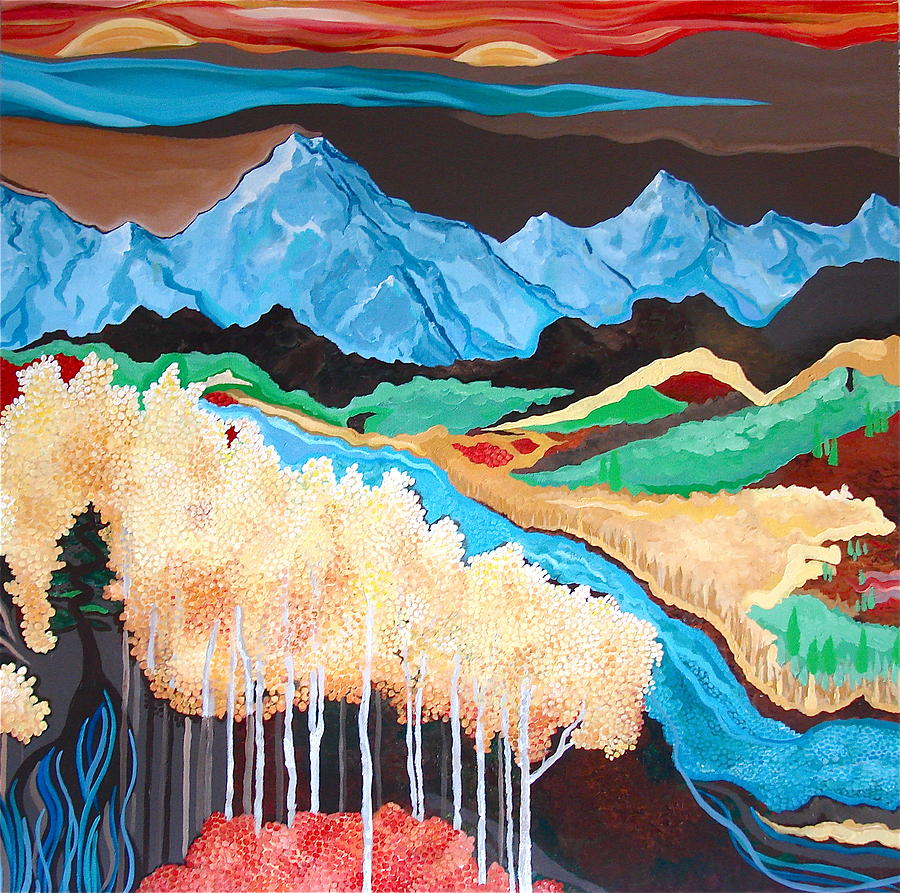 Landscape Mountains Trees Rivers Valleys  Painting - In Your Dreams by Rebecca Robinson