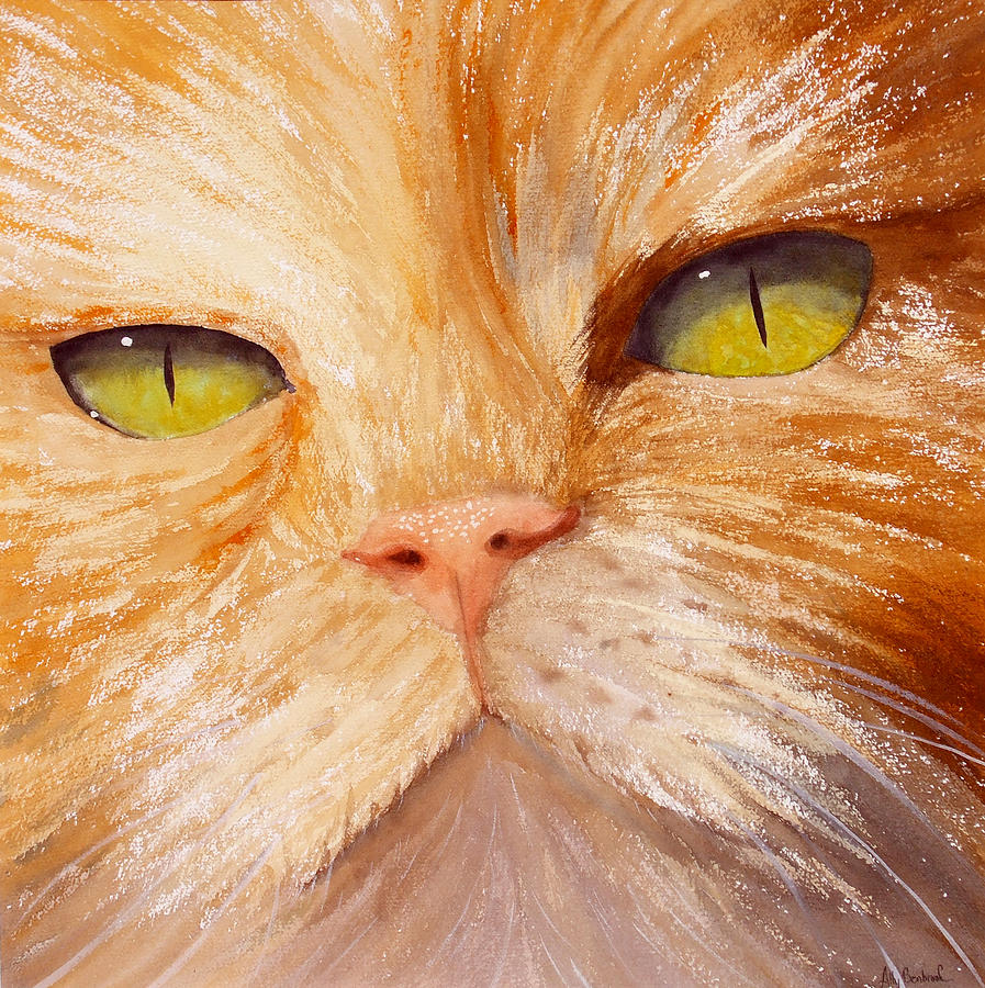 Cat Painting - In Your Face by Ally Benbrook