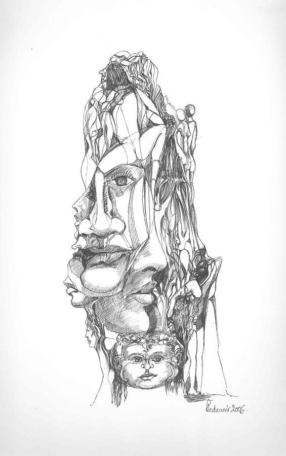 Surreal Drawing - In Your Head by Padamvir Singh