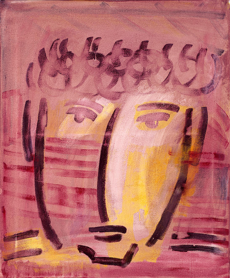 Abstract Painting - Inca Head by Michael Keogh